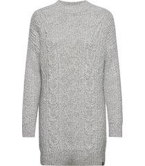 florence cable dress jurk knielengte grijs superdry