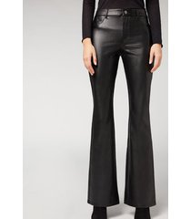 calzedonia leather effect thermal flare leggings woman black size s