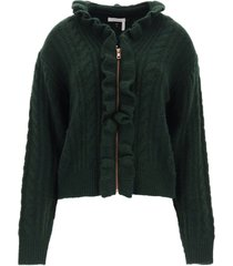 see by chloé cardigan with zip and ruffles