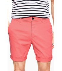men's topman stretch skinny chino shorts, size 32 - coral