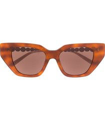 gucci eyewear cat-eye crystal-embellished sunglasses - brown