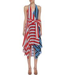 'canton' belted colourblock stripe silk halterneck dress