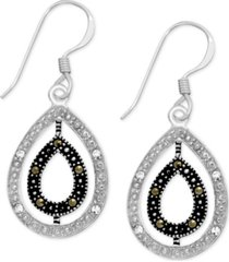 genuine swarovski marcasite & crystal orbital teardrop earrings in fine silver-plate