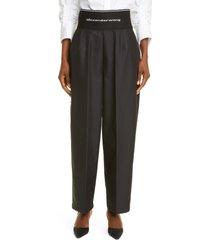 alexander wang logo waist wide leg pants, size 6 in black at nordstrom