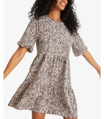sanctuary all day leopard print bubble sleeve dress