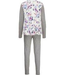 pyjamas ringella gråmelerad/benvit/lila