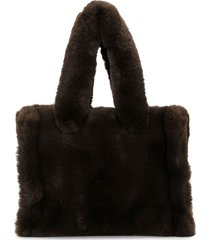 stand studio litz faux-fur tote bag - brown
