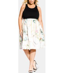 city chic trendy plus size primavera fit & flare dress
