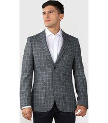blazer van heusen fantasía cuadro gris - calce regular