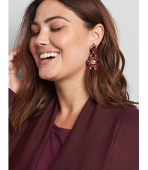 lane bryant women's faceted stone double-drop earrings - multi-color onesz racing red