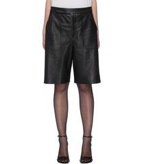 'theresa' mid rise leather bermuda shorts