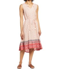 beachlunchlounge lou lou belted sleeveless shift dress, size small in apricot at nordstrom