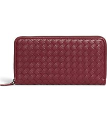 women's bottega veneta intreccio zip around wallet - burgundy