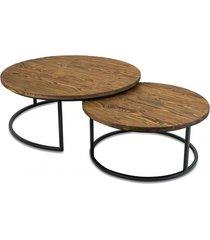 stolik kawowy 2 szt. komplet loft drewniany