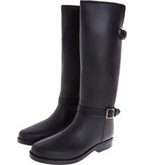 botas de lluvia impermeable horse twin buckle bottplie - negro