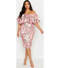 plus bloemenprint midi jurk met open schouders en ruches, rose