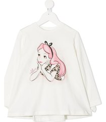 monnalisa alice-print ruffled sweatshirt - white