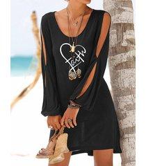 black letter hombro frío manga larga mini vestido