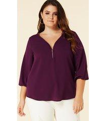 yoins plus blusa delantera con cremallera y cuello en v color púrpura