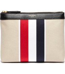 tricolour stripe canvas toiletry pouch