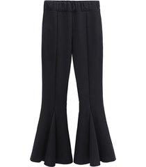 pantaloni casual elastici in vita solidi per donna