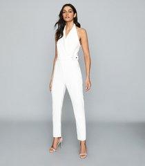 reiss belinda - tux detail halterneck jumpsuit in white, womens, size 12