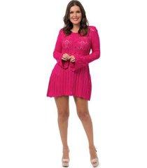 saída de praia pink tricot curta rendada feminina