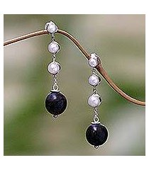 cultured pearl and ebony dangle earrings, 'opportunity' (indonesia)
