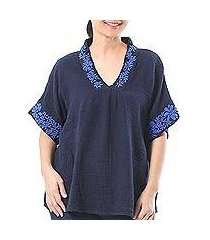 cotton blouse, 'classic bloom in navy' (thailand)