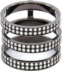 'berbère' diamond 18k black gold three row phalanx ring