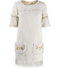 elisabetta franchi chain embellished frayed edge shift dress -