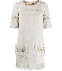 elisabetta franchi chain embellished frayed edge shift dress -