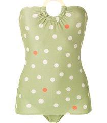 adriana degreas polka dot vintage swimsuit - green