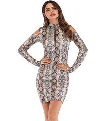 otoño mujeres 's moda patrón de leopardo vestidos ajustados vestido mujer