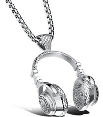 uomo collana in titanio con pendente a forma di auricolare di stile hip hop accessori