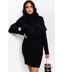 akira fabulous friday fringe long sleeve turtleneck mini dress