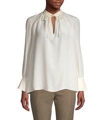 long-sleeve silk blouse