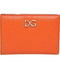 dolce & gabbana small wallet in dauphine calfskin with rhinestone dg
