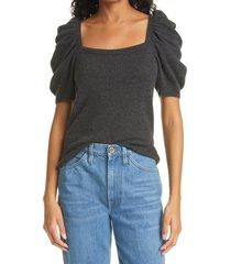 women's frame puff sleeve cashmere sweater, size medium - grey