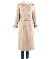 burberry s wool belted trench coat beige sz: custom