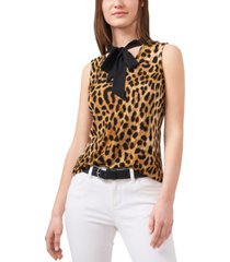 riley & rae leopard print tie neck blouse, created for macy's