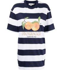 fiorucci café pesca striped t-shirt dress - blue