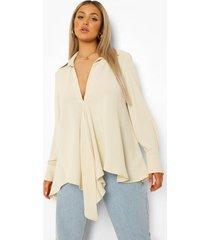 plus blouse met strik en laag decolleté, stone