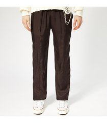 helmut lang men's cupro lounge trousers - chocolate - xl - brown