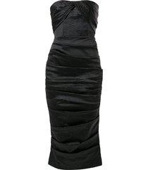 alex perry alexis snakeskin-embossed strapless satin dress - black