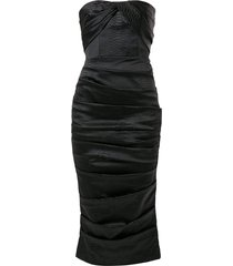 alex perry alexis snakeskin-embossed strapless satin dress - black