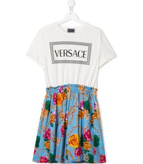 young versace teen logo floral short-sleeve dress - white