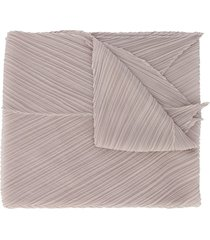 pleats please issey miyake micro-pleated pointed scarf - grey
