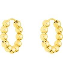 orecchini a cerchio in oro giallo con boules dorate per donna