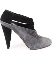 prada black gray suede strappy heeled booties black/gray sz: 8.5